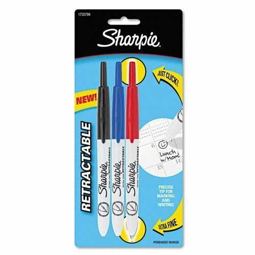 3 Colored Markers 173... Sharpie Retractable Ultra Fine Point Permanent Markers
