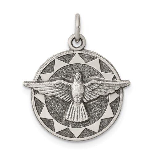 Holy Ghost Spirit médaille catholique de charme Dans Ancien Argent Sterling 925 18x19mm