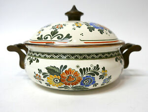 ASTA Enamelware Covered Pot Enamel White & Floral Dutch Oven Germany 8.5""
