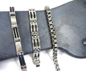 Mens-Bracelet-Lot-Stainless-Steel-Box-Chain-3-Styles-8-034-SilverTone