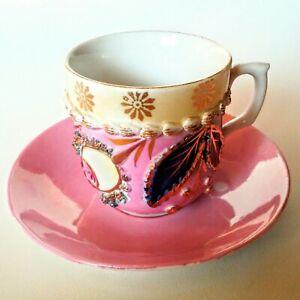 ANTIQUE-GERMANY-PORCELAIN-Ornate-Demitasse-034-Chicago-Souvenir-034-TEA-CUP-amp-SAUCER