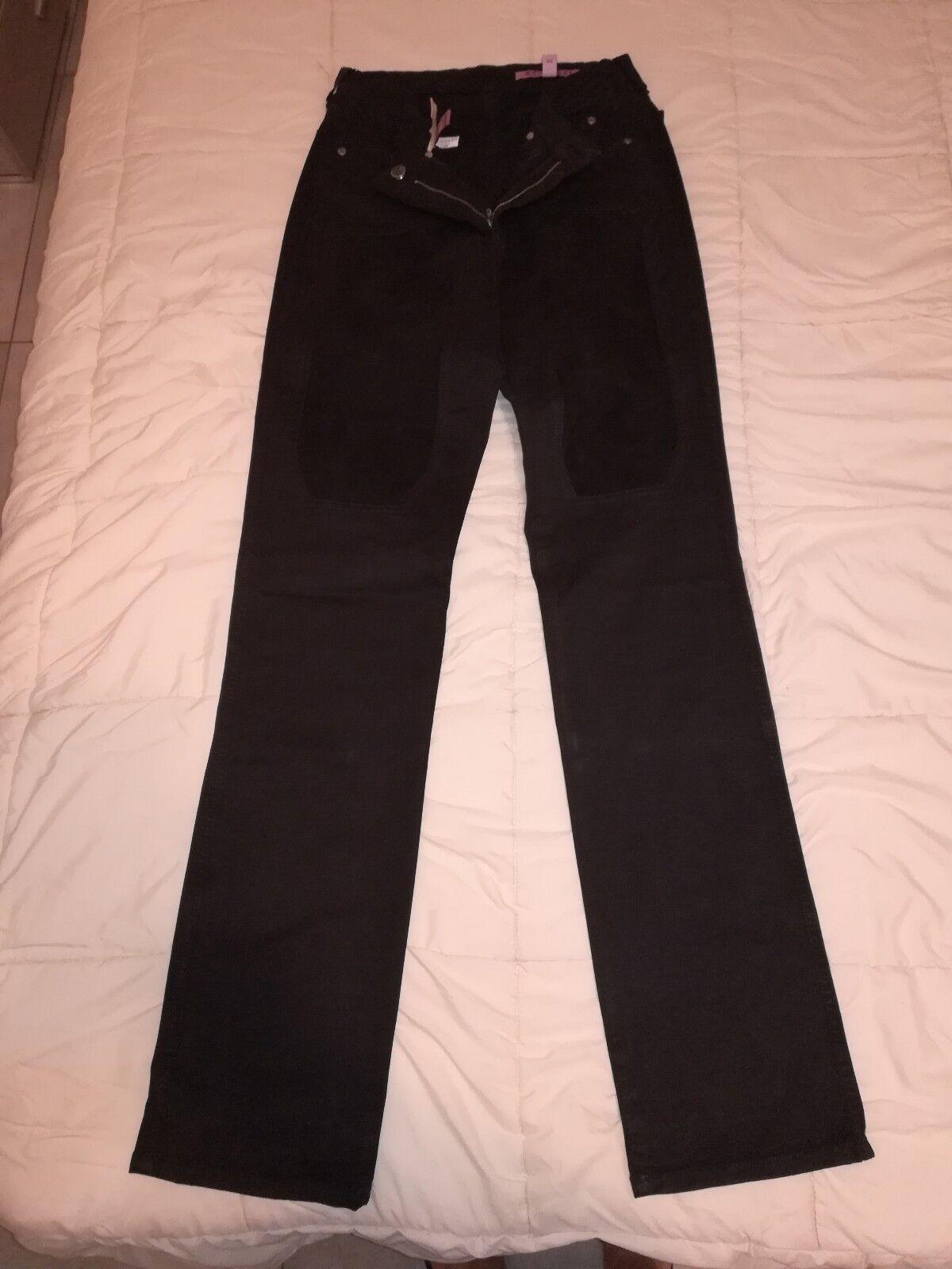 JECKERSON Jeans donna TG 30 colore Marronee Scuro con toppe Scamosciate