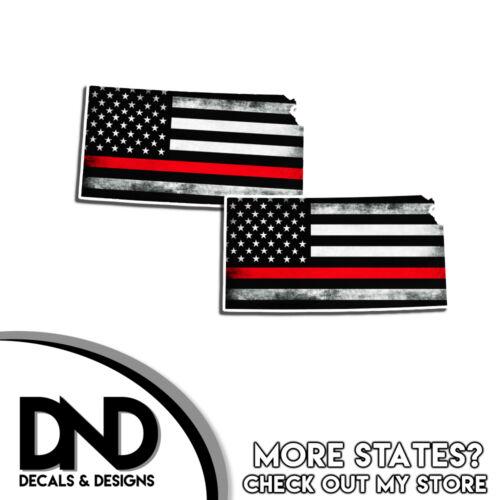 Kansas State Firefighter Red Line Decal KS Tatter American Flag Sticker 2 Pack