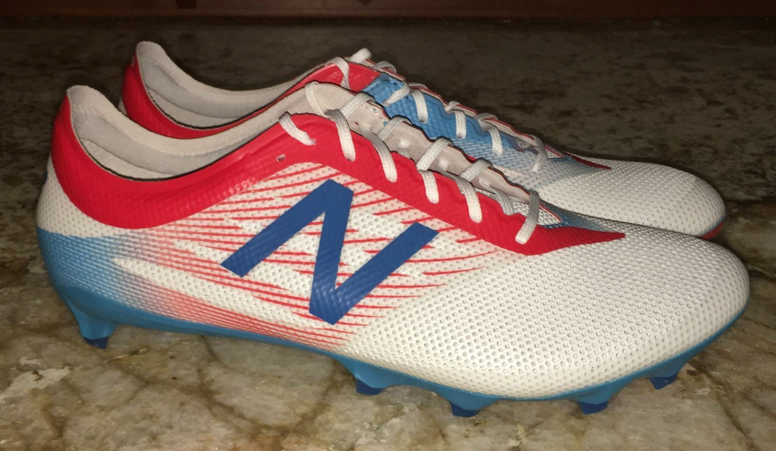 NEW BALANCE Furon 2.0 Pro FG RevLite White Blue Red Soccer Cleats NEW Mens Sz 11