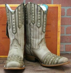 42e085a81f1 Details about LADIES CORRAL TAN SQUARE TOE STUDDED COWGIRL WESTERN BOOTS  C2991 NEW! Size 11 M