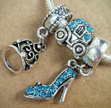 Disney Princess Cinderella Tiara Blue Shoe Pumpkin Carriage European Bead Charms