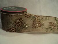 Ksa double Wire Pinecone Print Ribbon Great For Decorating Beautiful