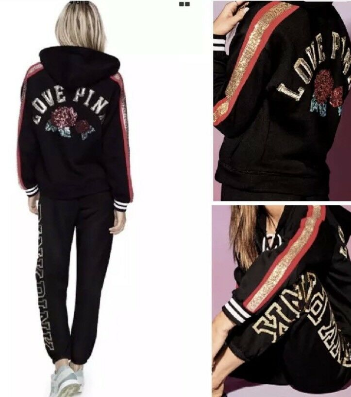 Victorias Secret Rosa Bling Hoodie & Pants Set Rosa  ️NWT M Fashion Show Sweats