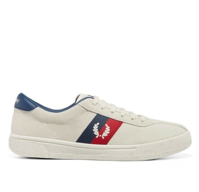 83564250a2c8a Fred Perry Mens FP Sports Authentic Tennis Suede Trainers Shoes - Snow White