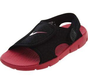 f15ae2b4b245 NEW Nike Sunray Adjust 4 386520 003 Black Rush Pink Girls Shoes ...
