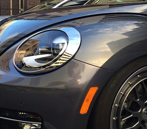 Chrome Headlights Lamp Eye Lid Brows Eyelids Cover For 2012-up VW New BEETLE