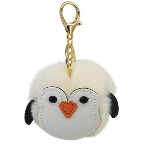 Soft Fluffy Faux Penguin Pompom Ball HandBag Pendant Cars Key Chain Key JJUK