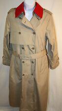 London Fog Womens Ladies Khaki Red Trench Raincoat Coat Size 12 R
