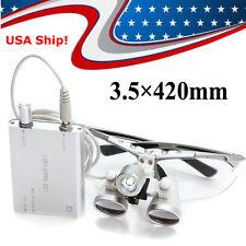 USA*** Silver Dental Loupes 3.5X 420mm Surgical Binocular + LED Head Light Lamp