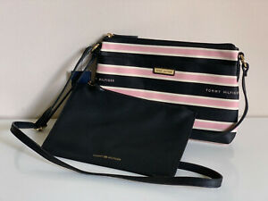 NEW-TOMMY-HILFIGER-BLACK-PINK-WHITE-CROSSBODY-SLING-BAG-W-WALLET-POUCH-75-SALE