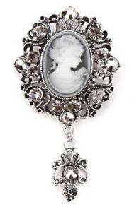 BROOCH-Elegant-Vintage-Style-Cameo-Brooch-Drop-Pendant-Wedding-Brooch-C2