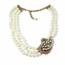 Heidi Daus  Swan Song Necklace Mother of Pearl SWAROVSKI CRYSTALS MAGNIFICENT!!