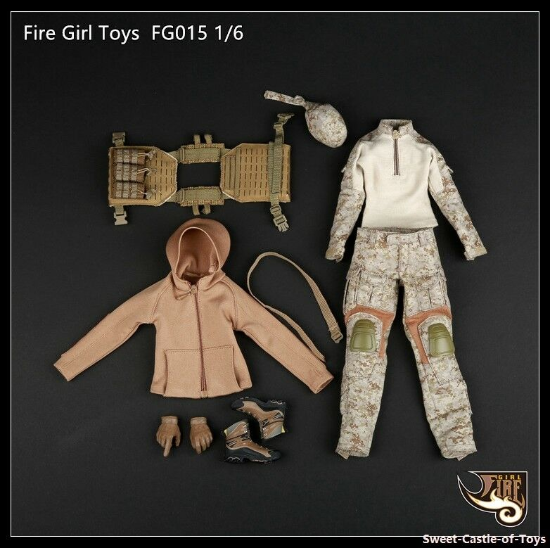 1 6 Fire Girl Toys Accessory FG015 Female Shooter Camouflage Clothe Suit Uniform