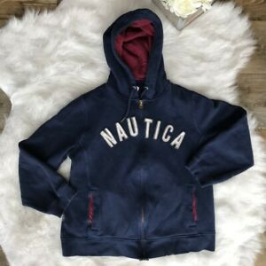 Nautica-Size-L-Women-039-s-Navy-Blue-Full-Zip-Hoodie-Jacket-Drawstring-Long-Sleeve