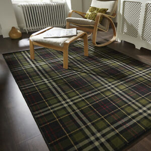 Traditional black green tartan living room rugs soft small - Small living room rug ...