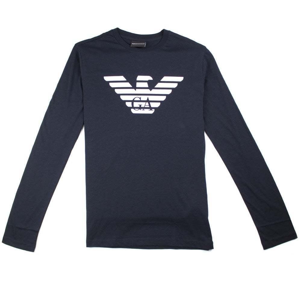 Emporio Armani GA Eagle Long Sleeve T-Shirt Navy