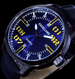 Excellanc-Analog-Herren-Armband-Uhr-Blau-Schwarz-Gelb-Leder