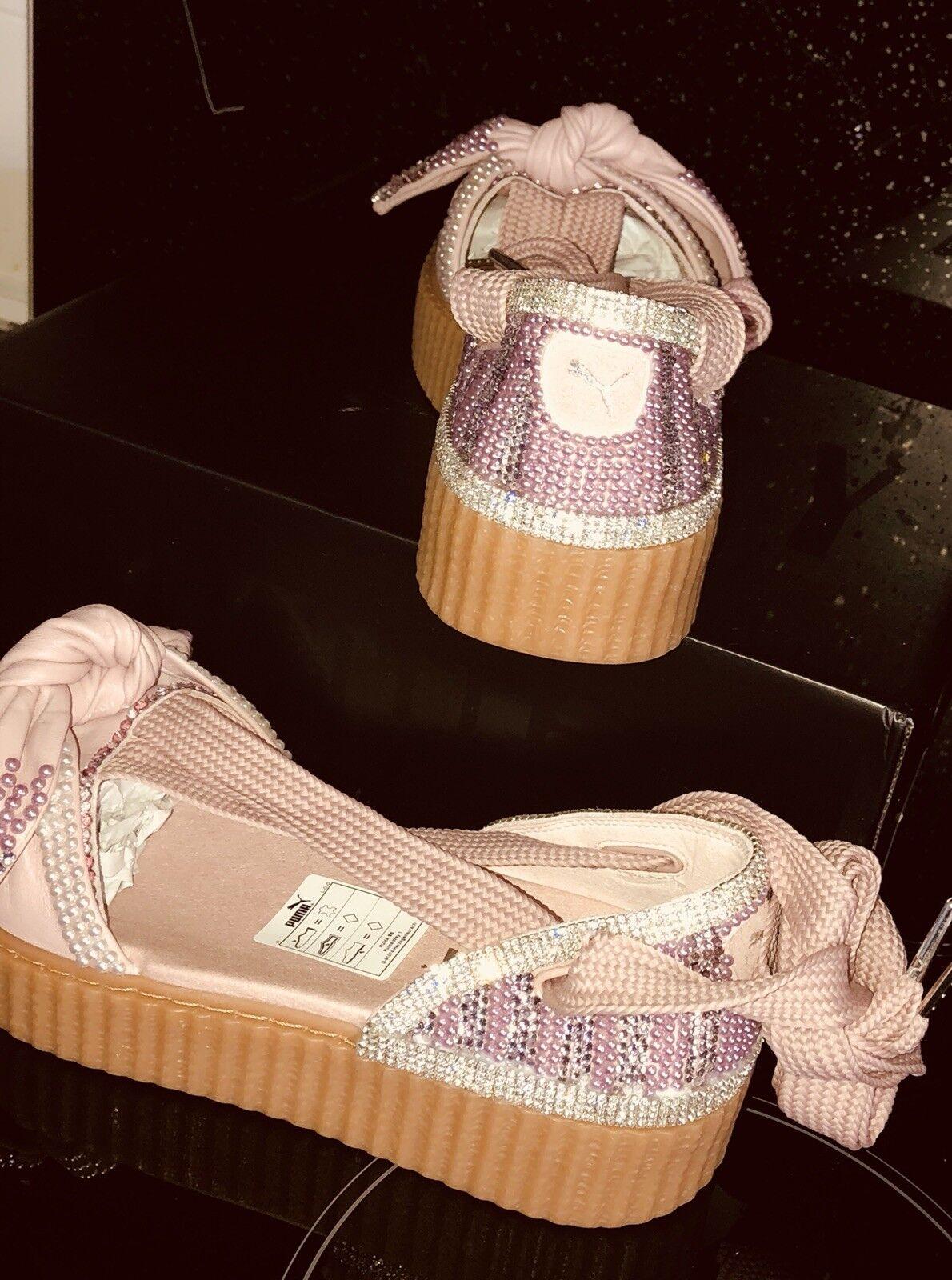 Zapatos casuales salvajes Cristal de reducción final Personalizados Puma X Shoestring Enredadera Ballet Encaje Rihanna 5