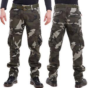 Pantaloni-uomo-cargo-militari-mimetici-tasconi-cotone-camouflage-nuovi-LB907