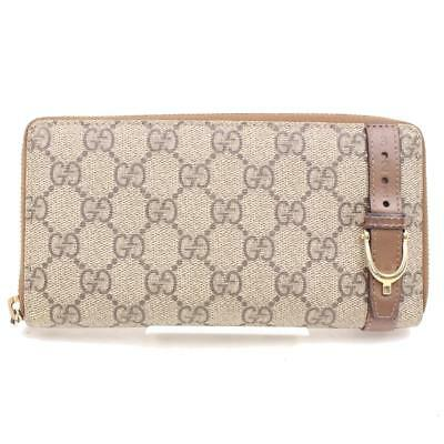 Authentic Gucci Zippy Wallet GG Supreme Browns PVC 77773