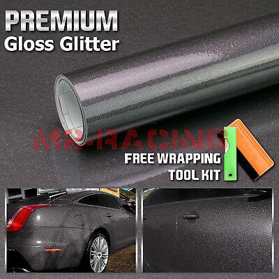 "*60/""x120/"" Matte Gray Frosted Glitter Sparkle Sticker Decal Sheet Car Vinyl Wrap"