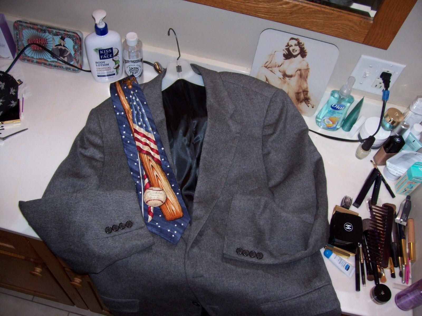 Men's  44L camel hair sport coat Frank Stella Clothiers NYC & baseball tie