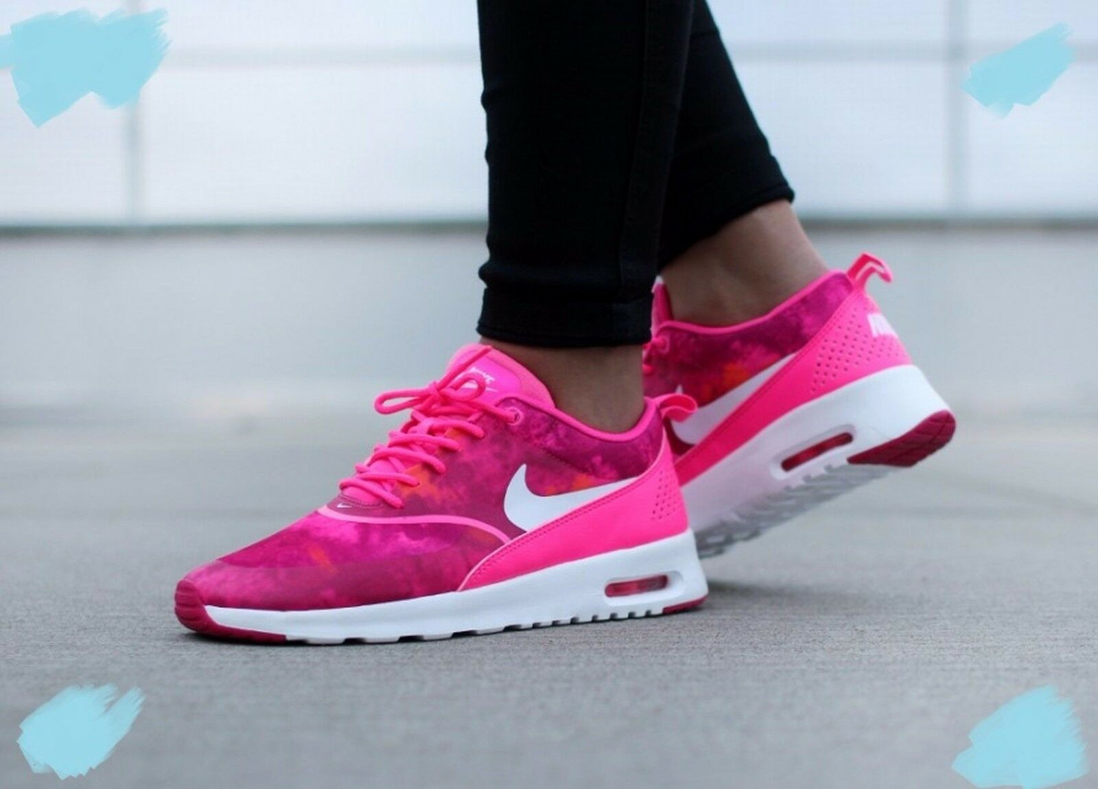 NIKE Air Max Thea Print Wmns Shoes Size 9 599408-602 Pink Pow/White-Frbrry