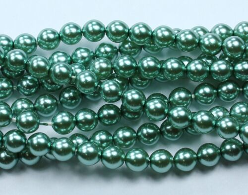 6mm 50 Indian Sapphire CZECH Glass Pearl Coated Round Beads