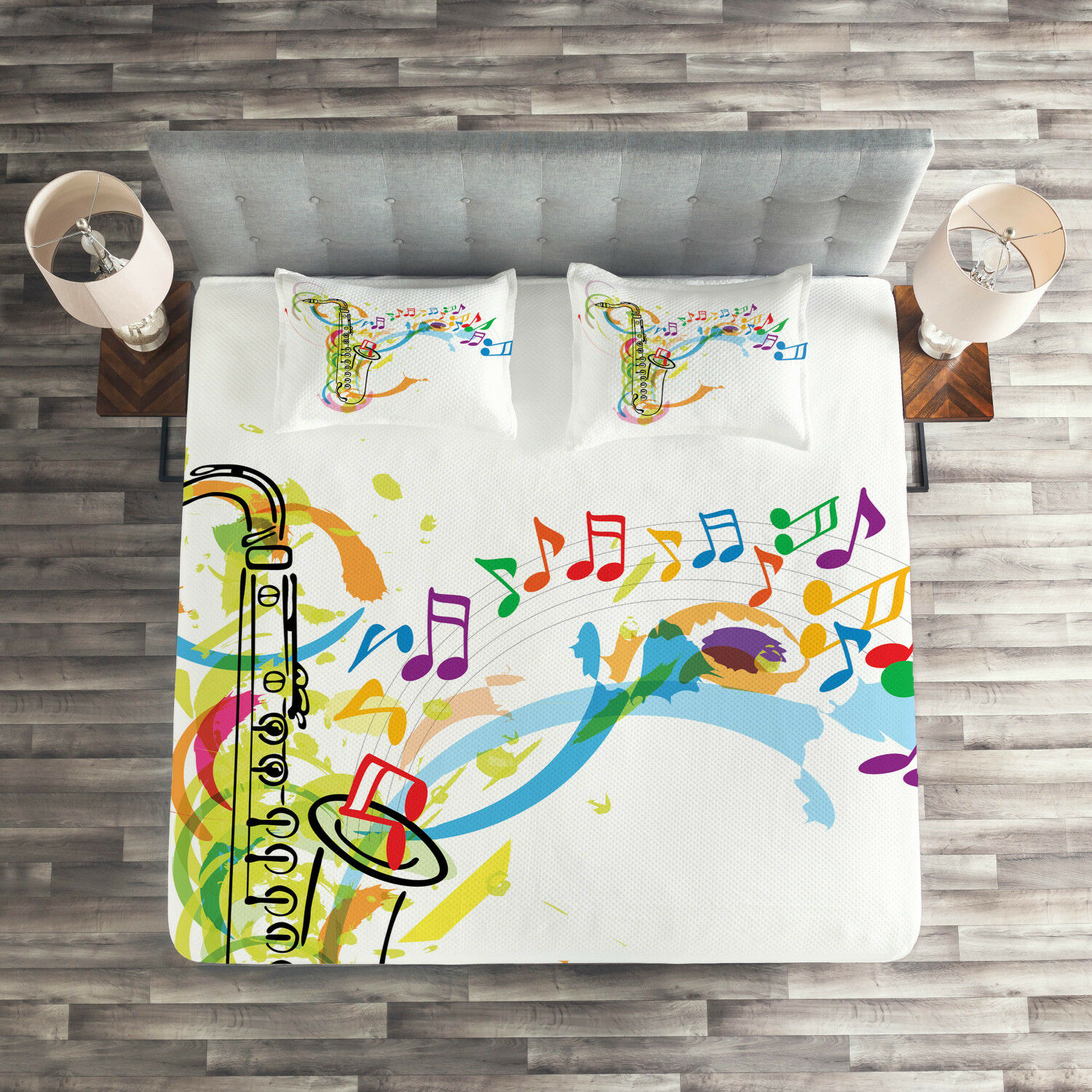 colorful Quilted Coverlet & Pillow Shams Set, Saxophone Wavy Notes Print