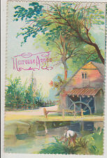 BELLE CARTE POSTALE ANCIENNE FANTAISIE crantée HEUREUSE ANNEE /MOULIN/1920