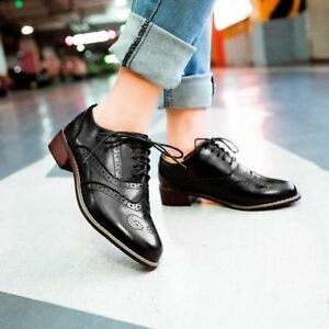Classic-Retro-Women-039-s-Lace-Up-Brogues-Girls-College-Low-Heels-Oxford-Shoes-Size