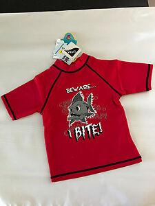BNWT Boys Sz 3 Aqua Shark Logo Sun Star Brand Short Sleeve Rash Vest UPF50+