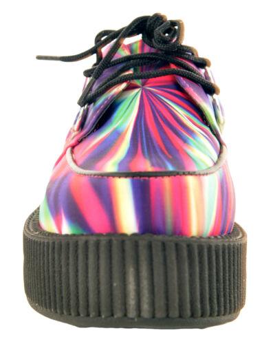 T.U.K A8583 TUK Shoes Donna Hi Rainbow Stampa bordello CREEPERS S Psichedelico