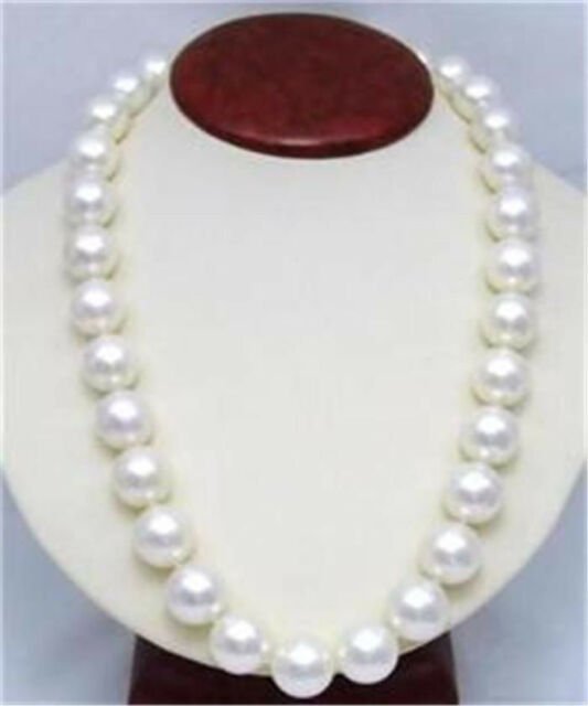 """RARE 12mm White South Sea Shell Pearl Round Beads Necklace 18"""" AAA"""