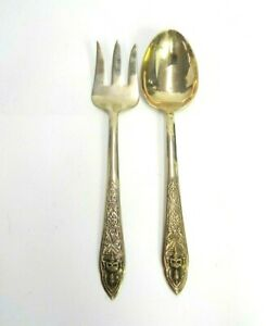 """💲 VINTAGE BAC BRASS SERVING FORK AND SPOON ELEPHANT 10"""" LONG FANCY DINING SIAM"""