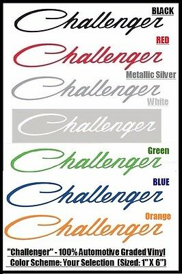 """Dodge Challenger 1/"""" X 6/"""" Graphic Vinyl Window Decal Script Font FREE SHIPPING"""