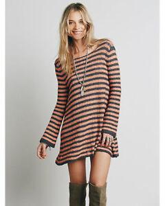 adc758bcad New Free People Boho Striped Swing Tunic Sweater Dress Size S  118 ...