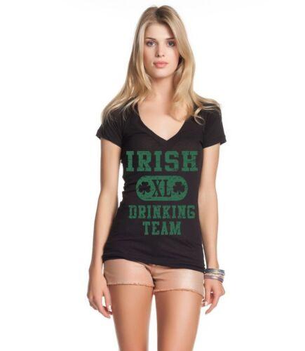 Irish Drinking Team XL Womens V-Neck T-shirt St Patrick/'s Day Drinking Drunk Tee