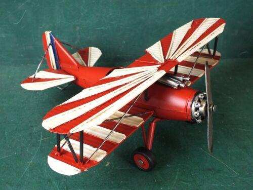 Blechspielzeug Großes Flugzeug Doppeldecker Rot Weiß drehbare Räder / Propeller