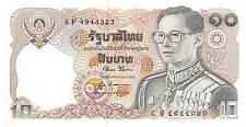 Thailand  10 Baht  ND. 1980  P 87 Series 8 F Sign. # 52 Uncirculated Banknote