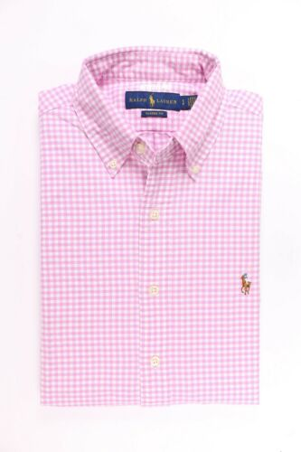 Polo Ralph Lauren Men LS Button Down Oxford Shirt Pink//White Checks MSRP $89.50