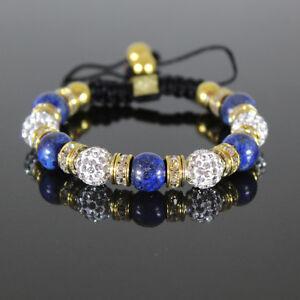 Damen-Shamballa-Armband-blau-weiss-gold-Glitzer-Cubic-Zirkon-Kugeln-Armreif