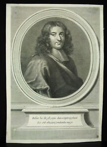 Stone-Bayle-Philosopher-Writer-Lenses-18th-c1700-Original-Engraving