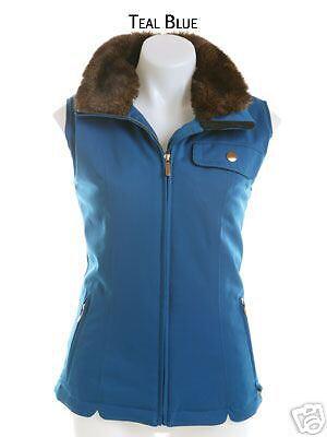 NILS SKI New VEST FAUX FUR Collar Womens 8 TEAL blueE