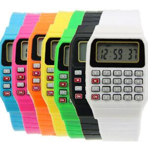 Retro Geek 80s Unusual Calculator Mens Womens Wrist Watch 8 Colours Digital Cool